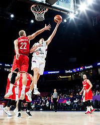 Janos Eilingsfeld of Hungary vs Dragan Milosavljevic of Serbia during basketball match between National Teams of Serbia and Hungary at Day 11 in Round of 16 of the FIBA EuroBasket 2017 at Sinan Erdem Dome in Istanbul, Turkey on September 10, 2017. Photo by Vid Ponikvar / Sportida
