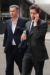© Licensed to London News Pictures. 16/06/2019. London, UK. Rory Stewart (R) arrives with David Gauke (L) for the first televised debate between Conservative Party leadership contenders. Frontrunner Boris Johnson has said that he will not take part in the Channel 4 debate. Photo credit: Rob Pinney/LNP