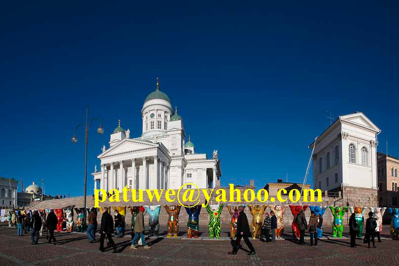 Panorama Finland Helsinki Cathedral Senate square. United Buddy Bear