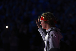 November 16, 2017 - London, England, United Kingdom - Alexander Zverev of Germany gets ready to walk out on court for his third round robin match against Jack Sock of the United States during the Nitto ATP World Tour Finals at O2 Arena on November 16, 2017 in London, England. (Credit Image: © Alberto Pezzali/NurPhoto via ZUMA Press)