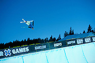 Simon D'Artois during Ski Superpipe Practice at 2014 X Games Aspen at Buttermilk Mountain in Aspen, CO. ©Brett Wilhelm/ESPN