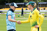 Heather Knight & Meg Lanning shake hands at the toss before the Royal London Women's One Day International match between England Women Cricket and Australia at the Fischer County Ground, Grace Road, Leicester, United Kingdom on 2 July 2019.
