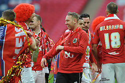 Bristol City's Scott Wagstaff laughs as his side win the Johnstone Paint trophy - Photo mandatory by-line: Dougie Allward/JMP - Mobile: 07966 386802 - 22/03/2015 - SPORT - Football - London - Wembley Stadium - Bristol City v Walsall - Johnstone Paint Trophy Final
