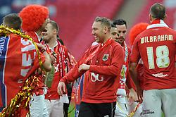 Bristol City's Scott Wagstaff laughs as his side win the Johnstone Paint trophy - Photo mandatory by-line: Dougie Allward/JMP - Mobile: 07966 386802 - 22/03/2015 - SPORT - Football - London - Wembley Stadium - Bristol City v Walsall - Johnstone Paint Trophy Final