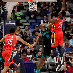 Apr 3, 2019; New Orleans, LA, USA;  New Orleans Pelicans center Julius Randle (30) shoots over Charlotte Hornets center Bismack Biyombo (8) during the second quarter at the Smoothie King Center. Mandatory Credit: Derick E. Hingle-USA TODAY Sports