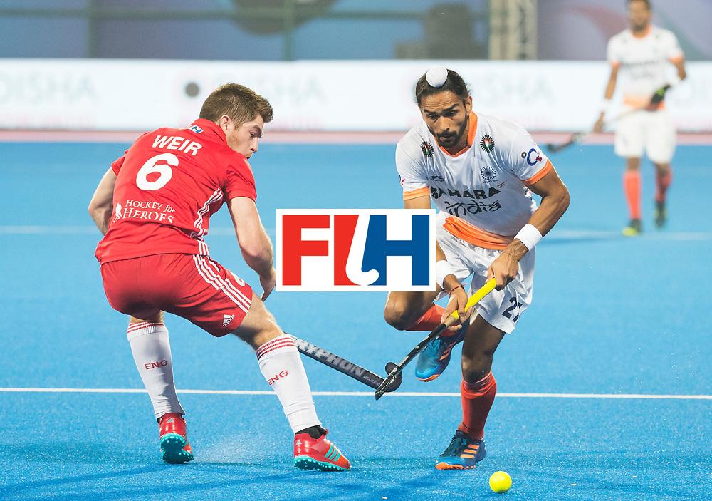 BHUBANESWAR - The Odisha Men's Hockey World League Final . Match ID 06 . India v England. Akashdeep Singh (Ind) with Henry Weir (Eng)    WORLDSPORTPICS COPYRIGHT  KOEN SUYK