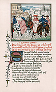 Canterbury Pilgrims from John of Lydgate (1370-1451?) Story of Thebes written c1420 and designed as an addition to Chaucer's 'Canterbury Tales'. Chromolithograph after manuscript.