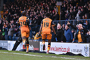 The Hull fans celebrate with HUll City Forward, Chuba Akpom during the The FA Cup fourth round match between Bury and Hull City at Gigg Lane, Bury, England on 30 January 2016. Photo by Mark Pollitt.