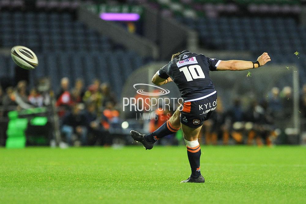 Kick from Simon Hickey during the Guinness Pro 14 2018_19 match between Edinburgh Rugby and Toyota Cheetahs at BT Murrayfield Stadium, Edinburgh, Scotland on 5 October 2018.