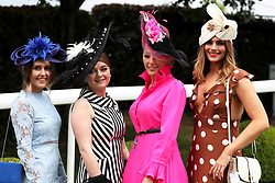 April Tucker, Camilla Baines, Jessica Rea Millenary, and Lucy Nicholls during Ladies Day of the 2019 Invested Derby Festival at Epsom Racecourse, Epsom.