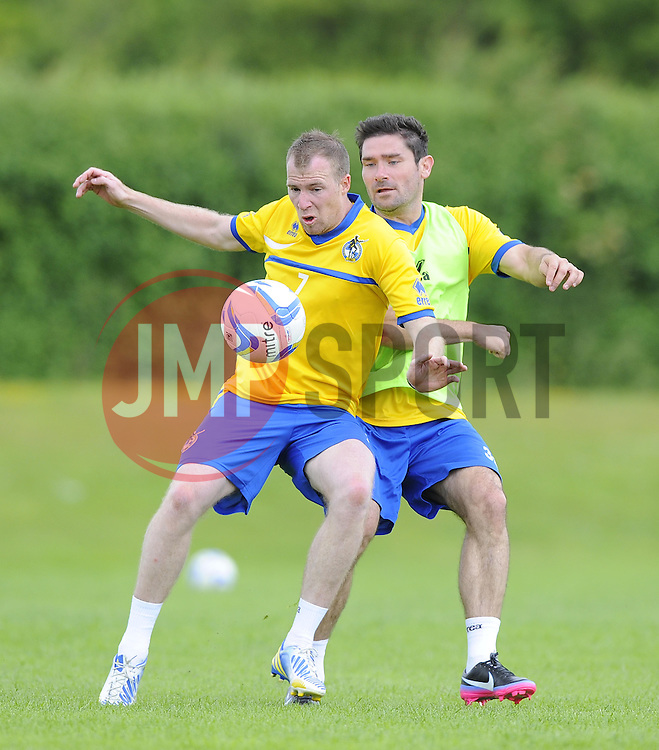 Bristol Rovers' David Clarkson battles for the ball with Bristol Rovers' Jim Patterson - Photo mandatory by-line: Joe Meredith/JMP - Tel: Mobile: 07966 386802 24/06/2013 - SPORT - FOOTBALL - Bristol -  Bristol Rovers - Pre Season Training - Npower League Two