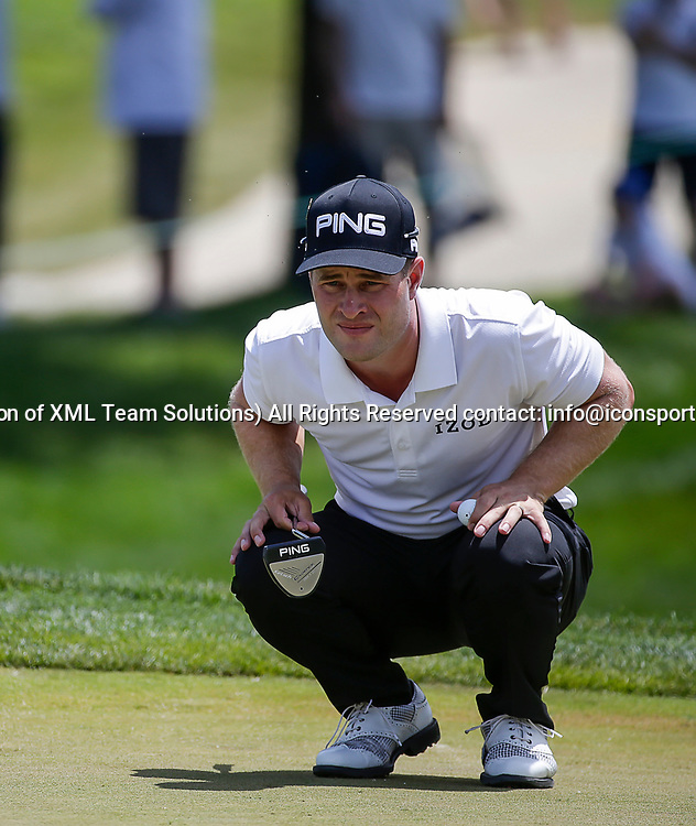 POTOMAC, MD - JULY 01:  David Lingmerth reads the 1st green during the third round of the Quicken Loans National at TPC Potomac at Avenel Farm in Potomac, MD.(Photo by Justin Cooper/Icon Sportswire)