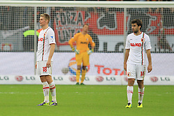 26.10.2013, BayArena, Leverkusen, GER, 1. FBL, Bayer 04 Leverkusen vs FC Augsburg, 10. Runde, im Bild Jan Moravek #14 (FC Augsburg), Jan-Ingwer Callsen-Bracker #18 (FC Augsburg) enttaeuscht nach dem 2:1, Enttaeuschung, Pech, Trauer, negativ // during the German Bundesliga 10th round match between Bayer 04 Leverkusen and FC Augsburg at the BayArena in Leverkusen, Germany on 2013/10/26. EXPA Pictures © 2013, PhotoCredit: EXPA/ Eibner-Pressefoto/ Schueler<br /> <br /> *****ATTENTION - OUT of GER*****