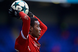 BIRKENHEAD, ENGLAND - Wednesday, December 6, 2017: Liverpool's Rafael Camacho takes a throw-in during the UEFA Youth League Group E match between Liverpool FC and FC Spartak Moscow at Prenton Park. (Pic by David Rawcliffe/Propaganda)