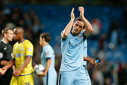 Frank Lampard of Manchester City applauds the fan after scoring twice in a 7-0 win - Photo mandatory by-line: Rogan Thomson/JMP - 07966 386802 - 24/08/2014 - SPORT - FOOTBALL - Manchester, England - Etihad Stadium - Manchester City v Sheffield Wednesday - Capital One Cup, Third Round.
