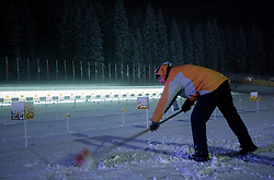 Stadium in the evening after the Ladies 7,5 km Sprint of the e.on IBU Biathlon World Cup on Thursday, December 14, 2012 in Pokljuka, Slovenia. The third e.on IBU World Cup stage is taking place in Rudno polje - Pokljuka, Slovenia until Sunday December 16, 2012. (Photo By Vid Ponikvar / Sportida.com)