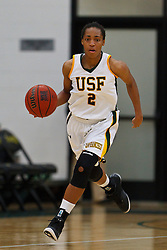 Nov 16, 2011; San Francisco CA, USA;  San Francisco Lady Dons guard Taj Winston (2) dribbles the ball up court against the Cal Poly Mustangs during the second half at War Memorial Gym.  Cal Poly defeated San Francisco 80-66. Mandatory Credit: Jason O. Watson-US PRESSWIRE