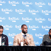 08 June 2016:  Cleveland Cavaliers guard J.R. Smith (5), Cleveland Cavaliers forward LeBron James (23) and Cleveland Cavaliers guard Kyrie Irving (2) are seen during the press conference following the Cleveland Cavaliers 120-90 victory over the Golden State Warriors, during Game Three of the 2016 NBA Finals at the Quicken Loans Arena, Cleveland, Ohio, USA.