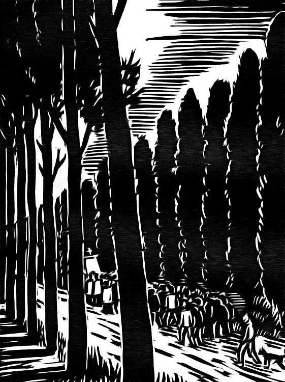 A black / white drawing of a funeral procession in the countryside