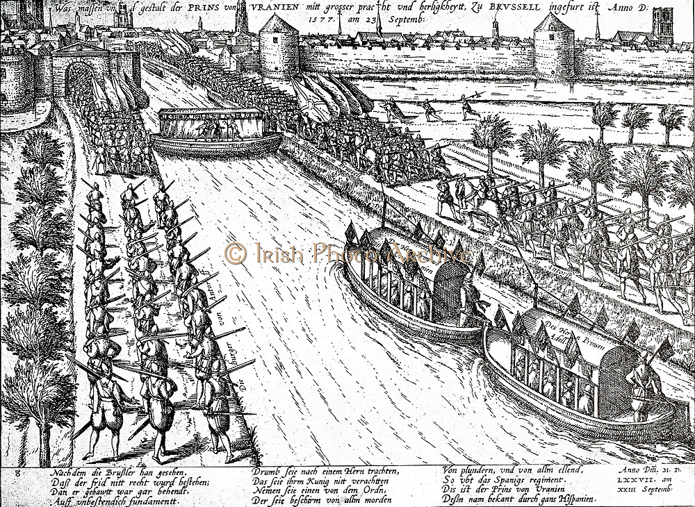 The negotiations with the Spaniards to defeat landwooogd. Don Juan, represented the Prince of Orange, at the request of the General States of the Southern Netherlands.  On 23 September he went from Antwerp to Brussels.  Antwerp burghers on foot accompanied him along the newly dug canal 1577