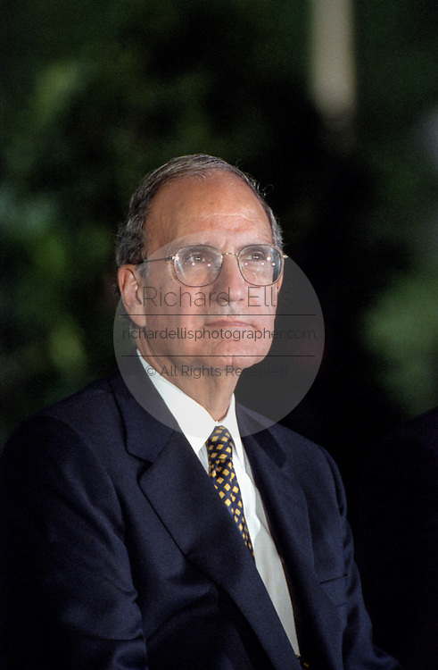 Former US Senator and Ireland peace envoy George Mitchell during the Paul O'Dwyer Peace and Justice Center award ceremony on the South Lawn of the White House September 11, 1998 in Washington, DC. President Clinton was presented the award for his work in helping bring peace in Northern Ireland.