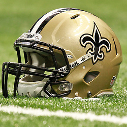 August 25, 2012; New Orleans, LA, USA; A New Orleans Saints helmet on the field prior to kickoff of a preseason game against the Houston Texans at the Mercedes-Benz Superdome. Mandatory Credit: Derick E. Hingle-US PRESSWIRE