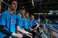 KELOWNA, CANADA - FEBRUARY 27: Cal Foote #25, Kole Lind #16, Rourke Chartier #14, Jonathan Smart #6 and Jordan Borstmayer #11 of Kelowna Rockets stands the bench pre-game against the Spokane Chiefs on February 27, 2016 at Prospera Place in Kelowna, British Columbia, Canada.  (Photo by Marissa Baecker/Shoot the Breeze)  *** Local Caption *** Rourke Chartier; Jonathan Smart; Jordan Borstmayer; Cal Foote; Kole Lind;