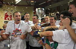 Celebration of Union Olimpija (Marko Milic, Hasan Rizvic, Sasa Doncic, ?, Goran Dragic, Saso Ozbolt, Jan Mocnik, Miha Zupan) after fourth (last) final match of UPC Telemach league and Slovenian  National Championship  between KK Helios Domzale, Domzale and Union Olimpija, Ljubljana, Slovenia, on June 7, 2008, in Komunalni center hall in Domzale. Match was won by Union Olimpija 84:60 and Olimpija became National Champion 2007/2008 fourteen times in history of Slovenia. (Photo by Vid Ponikvar / Sportal Images)