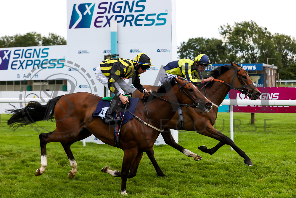Willy Nilly ridden by Adam Kirby (T: Clive Cox) (furthest from camera) wins the 15:10 Home Of Winners At valuerater.co.uk Handicap (Div 2) ahead of Derry Boy ridden by Rossa Ryan - Rogan/JMP - 14/07/2020 - HORSE RACING - Bath Racecourse - Bath, England.