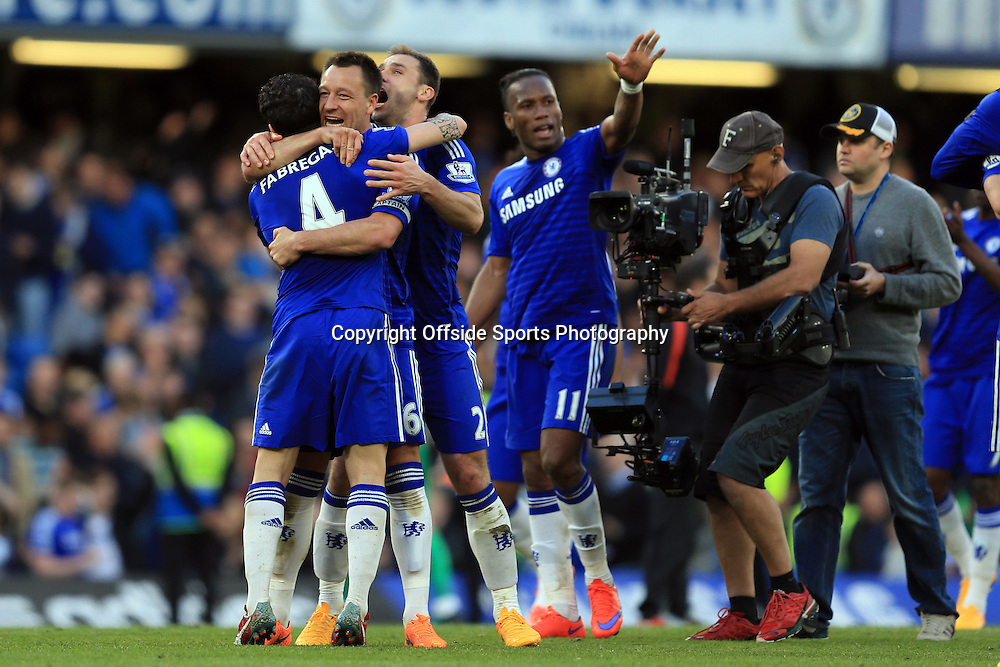 18 April 2015 - Barclays Premier League - Chelsea v Manchester United - Cesc Fabregas, John Terry, Branislav Ivanovic and Didier Drogba of Chelsea celebrate at full time - Photo: Marc Atkins / Offside.