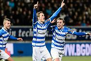 Voetbal Leeuwarden Eredivisie 2014-2015 SC Cambuur - PEC Zwolle: L-R Thomas Lam van PEC Zwolle scoor 1-0