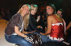 Left to right, MARTHA WARD, ALEX FINLAY and GABBY HARRIS at the Myla Debutantes Coming-Out show held at The Porchester Hall, Porchester Road, London on 31st January 2006.<br />