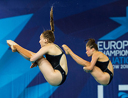 GermanyÕs Lena Hentschel and Tina Punzel competing in the Women's Synchronised 3m Springboard Final during day eleven of the 2018 European Championships at the Royal Commonwealth Pool, Edinburgh. PRESS ASSOCIATION Photo. Picture date: Sunday August 12, 2018. See PA story DIVING European. Photo credit should read: Ian Rutherford/PA Wire. RESTRICTIONS: Editorial use only, no commercial use without prior permission