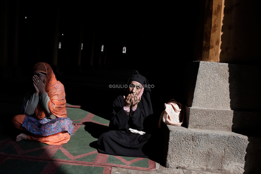 Friday prayer at Jamia Mosque after 9 weeks of curfew in Srinagar, 12 November 2011, Kashmir, India...