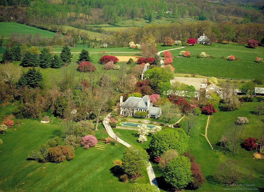 Springtime Aerial Photo of Residence