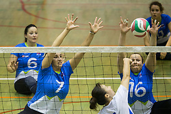Larisa Pirih of Slovenia and Jasmina Zbil of Slovenia vs Xiong Lina of China during friendly Sitting Volleyball match between National teams of Slovenia and China, on October 22, 2017 in Sempeter pri Zalcu, Slovenia. (Photo by Vid Ponikvar / Sportida)