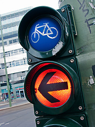Red stop light for cyclists in Berlin Germany
