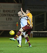 Dundee&rsquo;s Gary Harkins battles with Motherwell&rsquo;s Stephen McManus - Motherwell v Dundee - Ladbrokes Premiership at Fir Park<br /> <br /> <br />  - &copy; David Young - www.davidyoungphoto.co.uk - email: davidyoungphoto@gmail.com