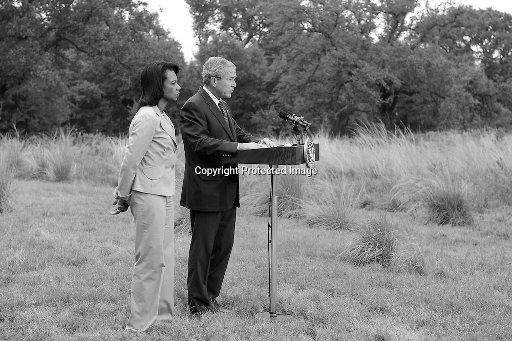 U.S. Secretary of State Condoleezza Rice joins President George W. Bush for a statement during a vacation at Bush's ranch in Crawford, Texas.
