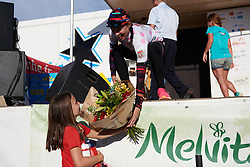 Kasia Niewiadoma (POL) shares more podium flowers with a young fan at Tour Cycliste Féminin International de l'Ardèche 2018 - Stage 5, a 138.4km road race from Grandrieu to Mont Lozère, France on September 16, 2018. Photo by Sean Robinson/velofocus.com