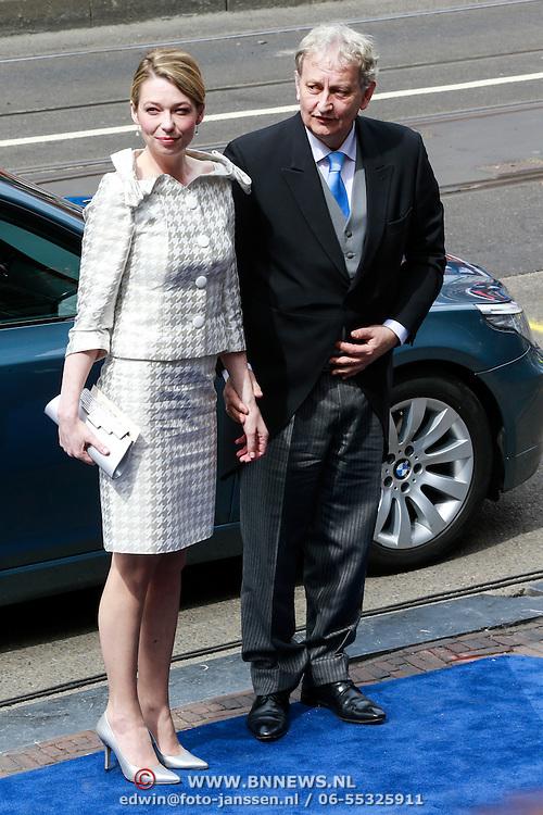 NLD/Amsterdam/20130430 - Inhuldiging Koning Willem - Alexander, burgemeester Amsterdam, Eberhard van der Laan en partner Femke