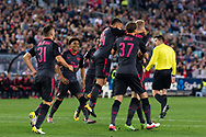 July 13 2017: Arsenal player Per Mertesacker (4) celebrates with his team at the International soccer match between English Premier League giants Arsenal and A-League premiers Sydney FC at ANZ Stadium in Sydney.