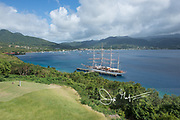 The Sea Cloud, a historic tall sailing ship is docked in Prince Rupert Bay, Dominica.