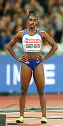 London, August 11 2017 . Dina Asher-Smith, Great Britain, awaits the start of the  women's 200m final on day eight of the IAAF London 2017 world Championships at the London Stadium. © Paul Davey.