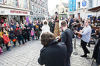 REPRO FREE: The launch of Seachtain Na Gaeilge le Energia  on the streets of Galway where there was loads of entertainment and Seo Linn played. Seachtain Na Gaeilge le Energia  runs nationwide from the 1st  till the 17th of March . For more details see snag.ie .<br /> Photo:Andrew Downes