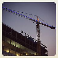 2018 AUGUST 16 - Crane and building under construction on Boren Avenue in downtown Seattle, WA, USA. Taken/edited with Instagram App for iPhone. By Richard Walker