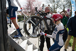 Lotta Lepistö (FIN) of Cervélo-Bigla Cycling Team climbs onto the start ramp during Stage 2 of the Healthy Ageing Tour - a 19.6 km team time trial, starting and finishing in Baflo on April 6, 2017, in Groeningen, Netherlands.