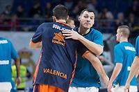 Real Madrid Jonas Maciulis and Valencia Basket Bojan Dubljevic during Turkish Airlines Euroleague match between Real Madrid and Valencia Basket at Wizink Center in Madrid, Spain. December 19, 2017. (ALTERPHOTOS/Borja B.Hojas)