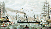 Victoria and Albert' the first steam-driven royal yacht. Queen Victoria being cheered as yacht carries her to naval review at Spithead. Baxter needlebox print c1855. Oleograph