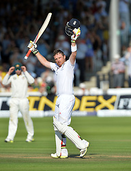 © Licensed to London News Pictures. Ian Bell celebrates his century in the Second Test England v Australia The Ashes Lord's Cricket Ground, London 18/07/2013. Photo credit: Mike King/LNP